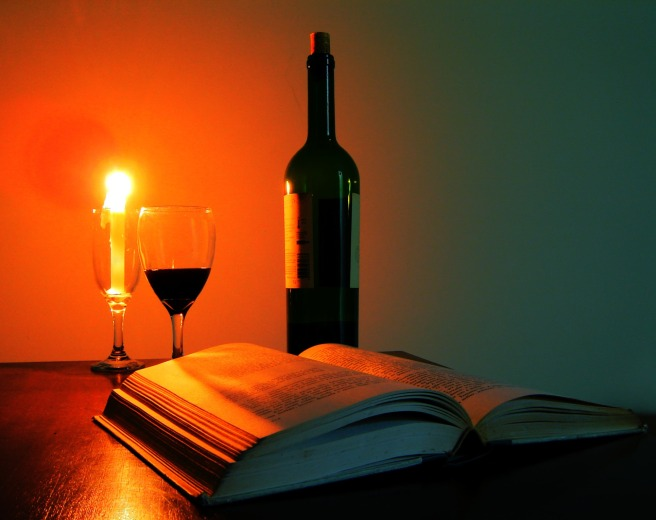 Candle Book Glass Of Wine